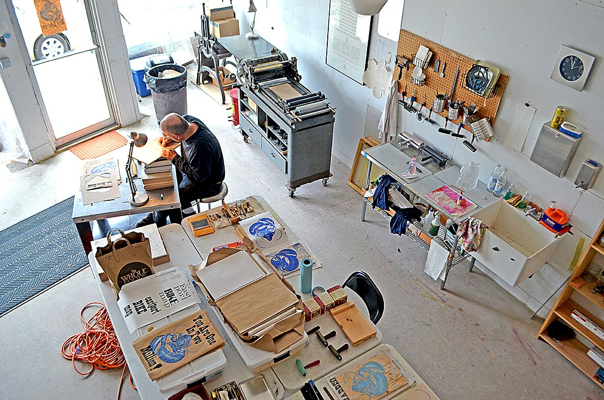 Ground Floor of StudioWorks Facility with Josef Beery, printer and printmaker from Free Union, Virginia, and artist in residence at StudioWorks, September 2015.